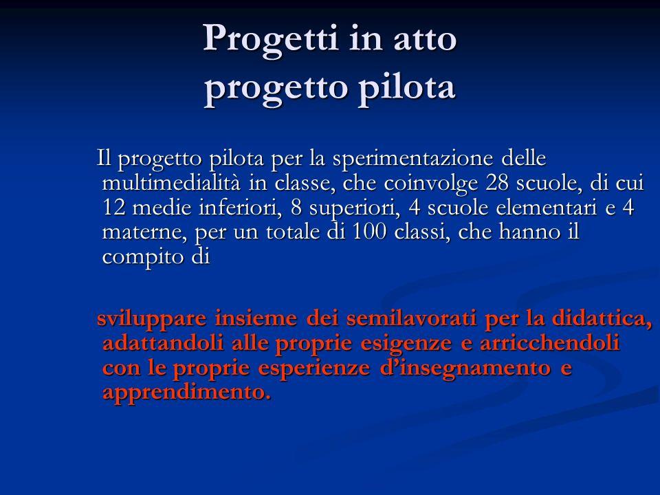 Progetti in atto progetto pilota Il progetto pilota per la sperimentazione delle multimedialità in classe, che coinvolge 28 scuole, di cui 12 medie in