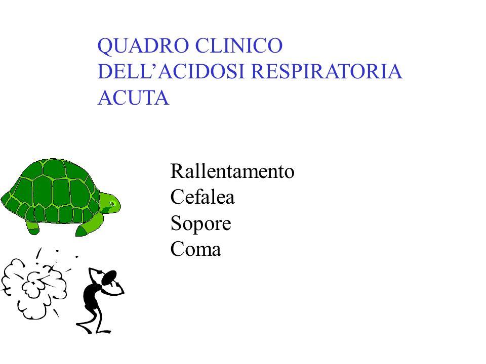 QUADRO CLINICO DELLACIDOSI RESPIRATORIA ACUTA Rallentamento Cefalea Sopore Coma