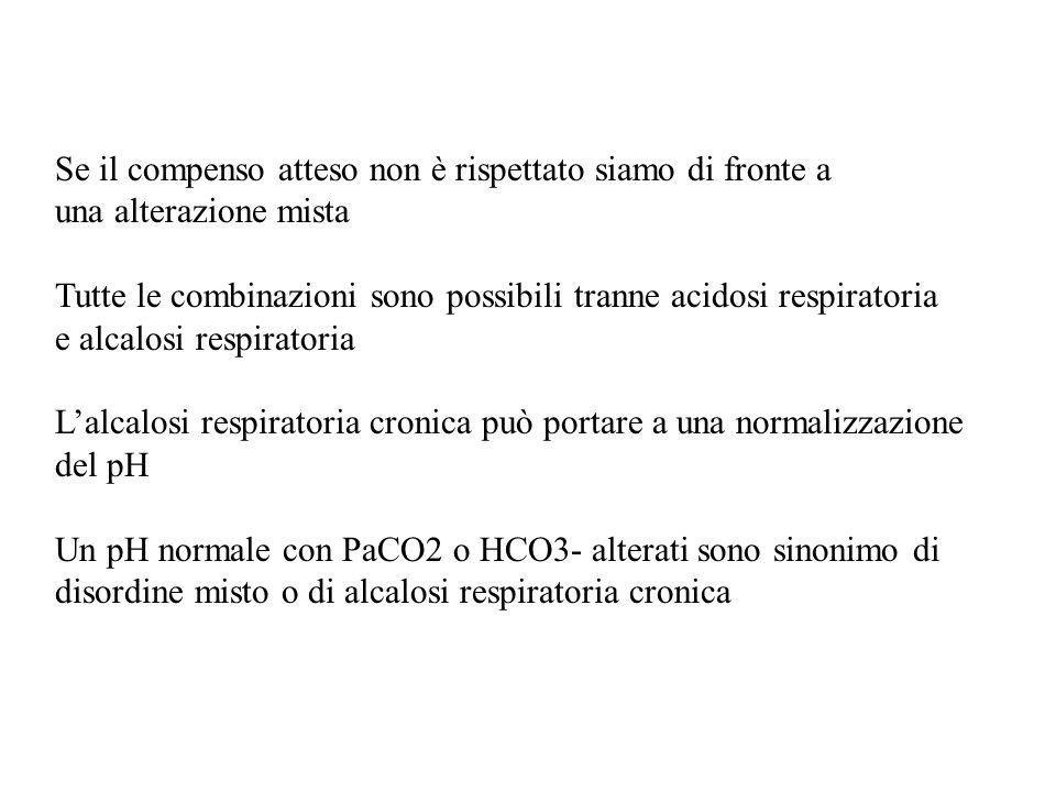 Se il compenso atteso non è rispettato siamo di fronte a una alterazione mista Tutte le combinazioni sono possibili tranne acidosi respiratoria e alca