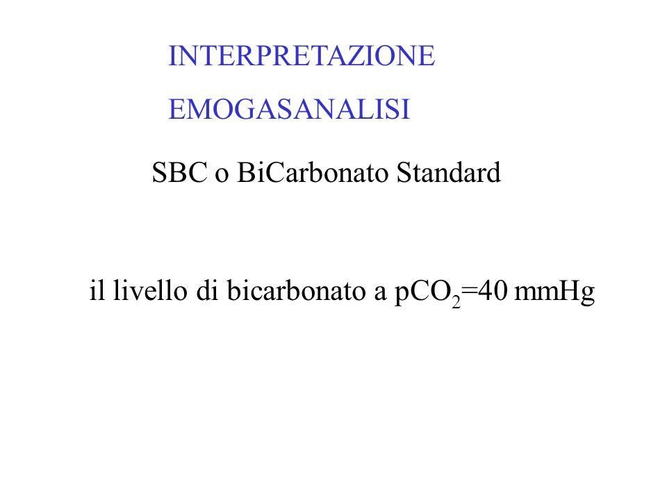 ACIDOSI RESPIRATORIA ACUTA AUMENTO DELLA CO2 OLTRE 45 mmHg pH < 7.35 AUMENTO DEGLI HCO3 ( 1 mEq/L per ogni 10 mmHg di incremento di PaCO2) H+ = PCO2 / HCO3-