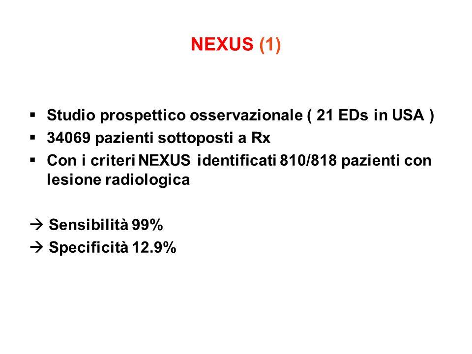 NEXUS (1) Studio prospettico osservazionale ( 21 EDs in USA ) 34069 pazienti sottoposti a Rx Con i criteri NEXUS identificati 810/818 pazienti con les