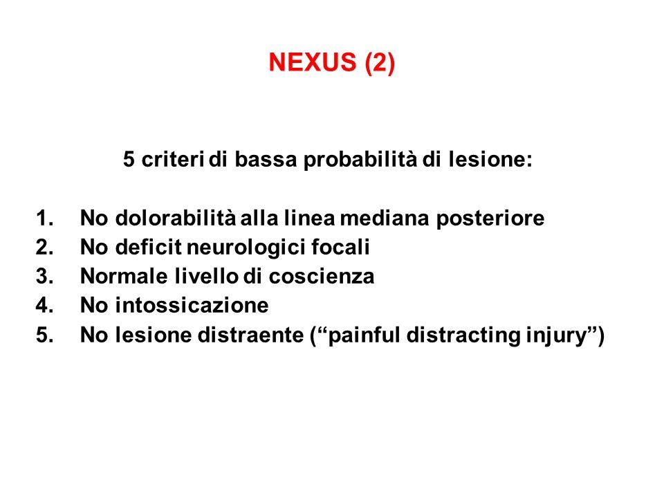 NEXUS (2) 5 criteri di bassa probabilità di lesione: 1.No dolorabilità alla linea mediana posteriore 2.No deficit neurologici focali 3.Normale livello