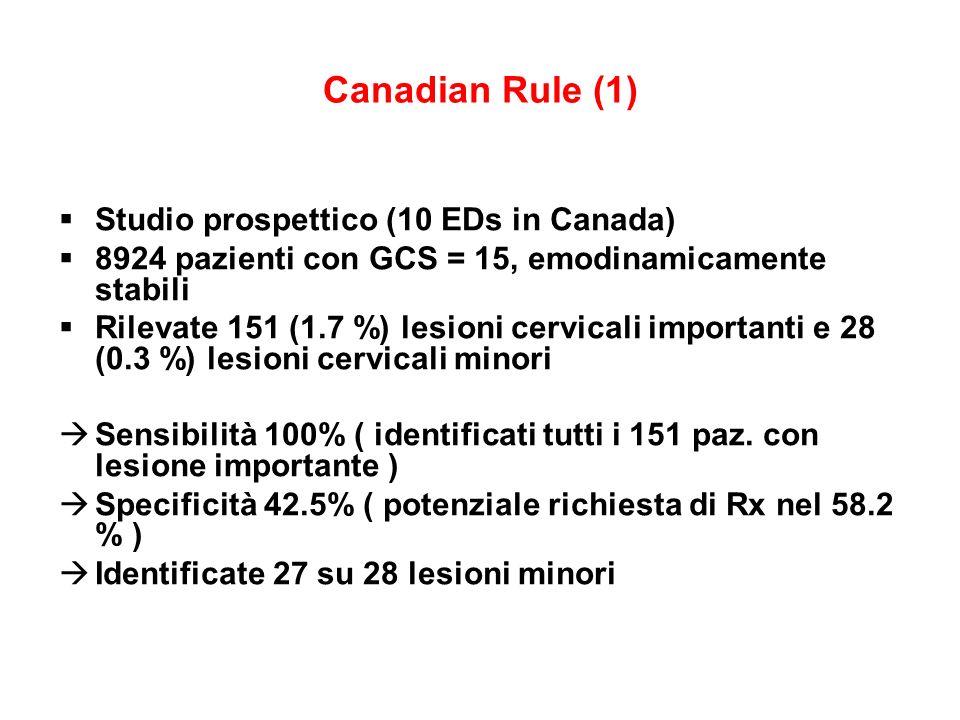 Canadian Rule (1) Studio prospettico (10 EDs in Canada) 8924 pazienti con GCS = 15, emodinamicamente stabili Rilevate 151 (1.7 %) lesioni cervicali im