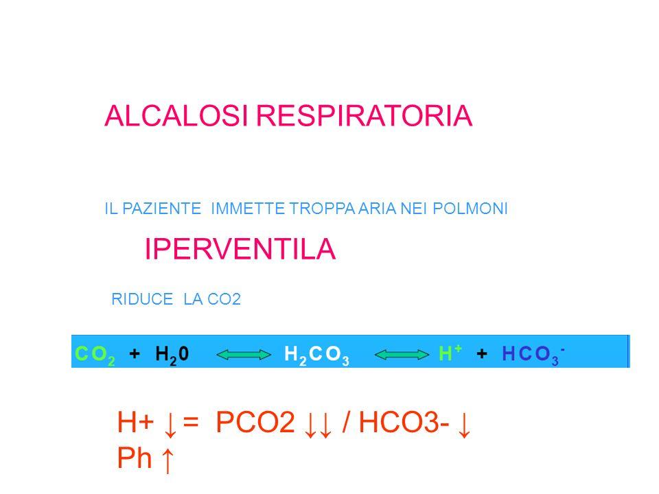 ALCALOSI RESPIRATORIA IL PAZIENTE IMMETTE TROPPA ARIA NEI POLMONI RIDUCE LA CO2 H+ = PCO2 / HCO3- Ph IPERVENTILA