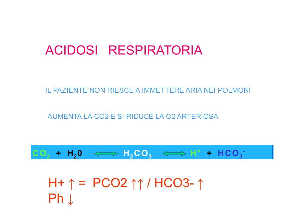 ACIDOSI RESPIRATORIA IL PAZIENTE NON RIESCE A IMMETTERE ARIA NEI POLMONI AUMENTA LA CO2 E SI RIDUCE LA O2 ARTERIOSA H+ = PCO2 / HCO3- Ph