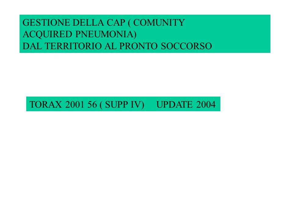 GESTIONE DELLA CAP ( COMUNITY ACQUIRED PNEUMONIA) DAL TERRITORIO AL PRONTO SOCCORSO TORAX 2001 56 ( SUPP IV) UPDATE 2004