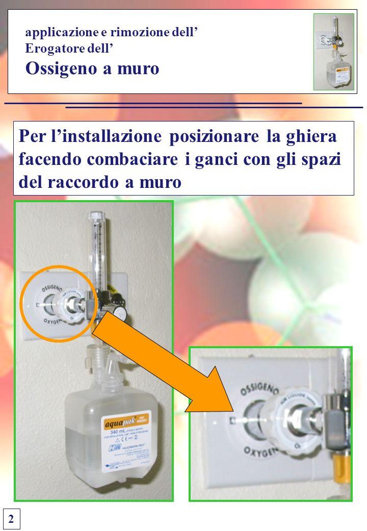 applicazione e rimozione dell Erogatore dell Ossigeno a muro Per linstallazione posizionare la ghiera facendo combaciare i ganci con gli spazi del raccordo a muro 2
