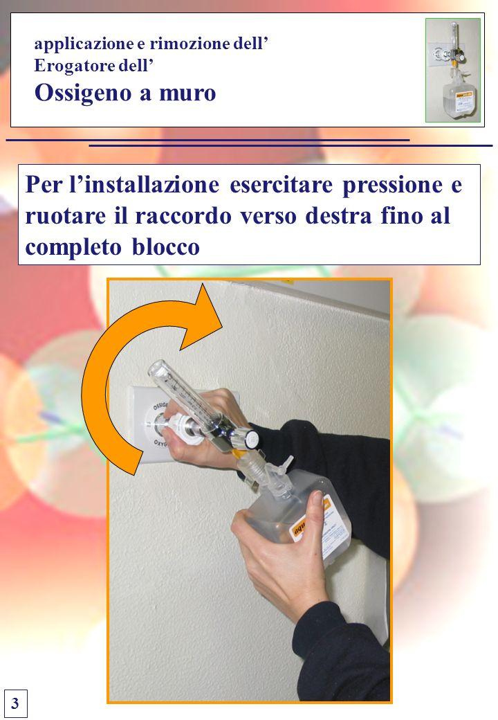 applicazione e rimozione dell Erogatore dell Ossigeno a muro Per linstallazione esercitare pressione e ruotare il raccordo verso destra fino al completo blocco 3