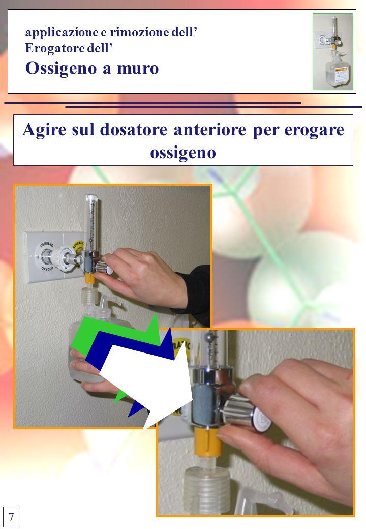 applicazione e rimozione dell Erogatore dell Ossigeno a muro Agire sul dosatore anteriore per erogare ossigeno 7