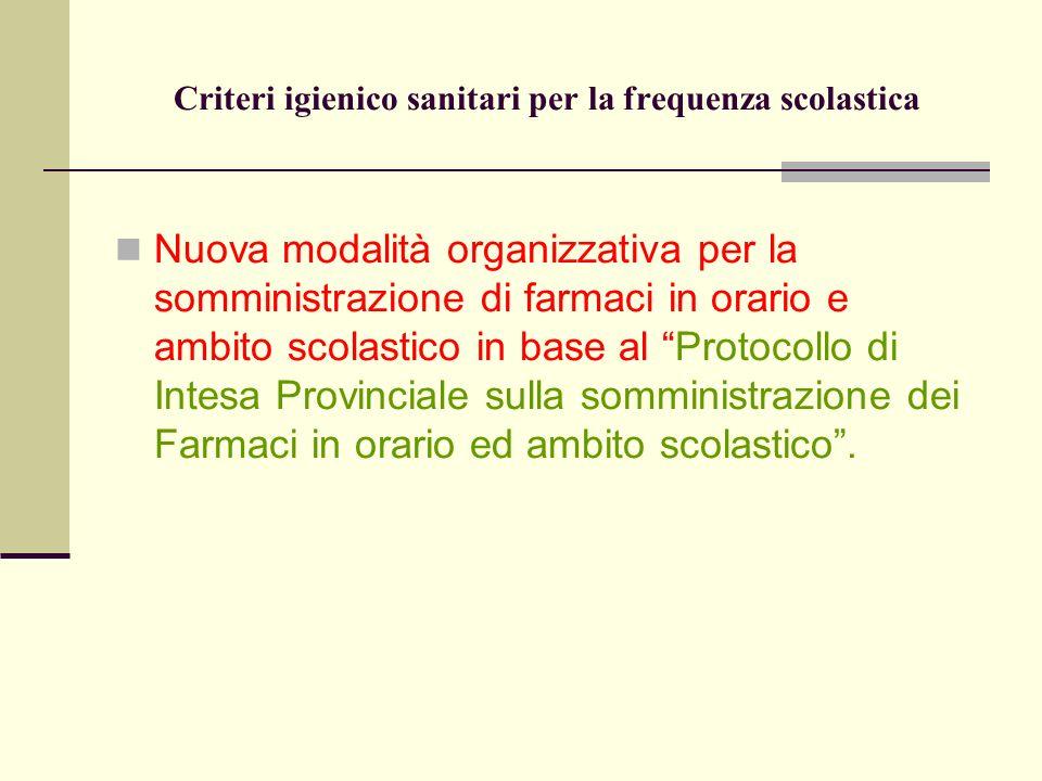 Criteri igienico sanitari per la frequenza scolastica Nuova modalità organizzativa per la somministrazione di farmaci in orario e ambito scolastico in