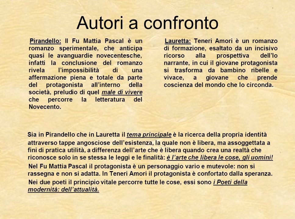 Autori a confronto Pirandello: Pirandello: Il Fu Mattia Pascal è un romanzo sperimentale, che anticipa quasi le avanguardie novecentesche, infatti la