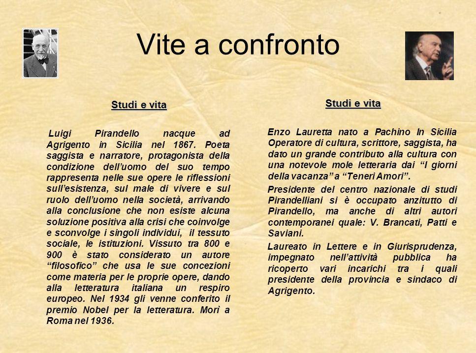 Vite a confronto Studi e vita Luigi Pirandello nacque ad Agrigento in Sicilia nel 1867. Poeta saggista e narratore, protagonista della condizione dell