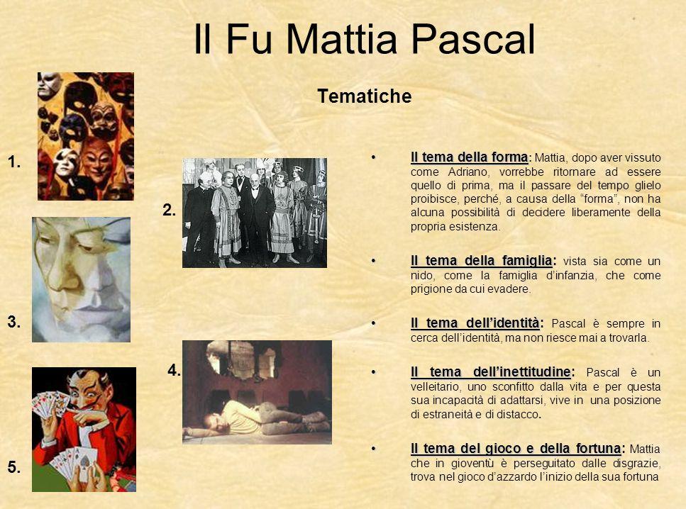 Il Fu Mattia Pascal Il Fu Mattia Pascal è un romanzo in cui il protagonista, intrappolato in difficili rapporti familiari, angustiato dai debiti, si vede prospettare un giorno la possibilità di fingersi morto, assumendo lidentità fittizia di Adriano Meis.