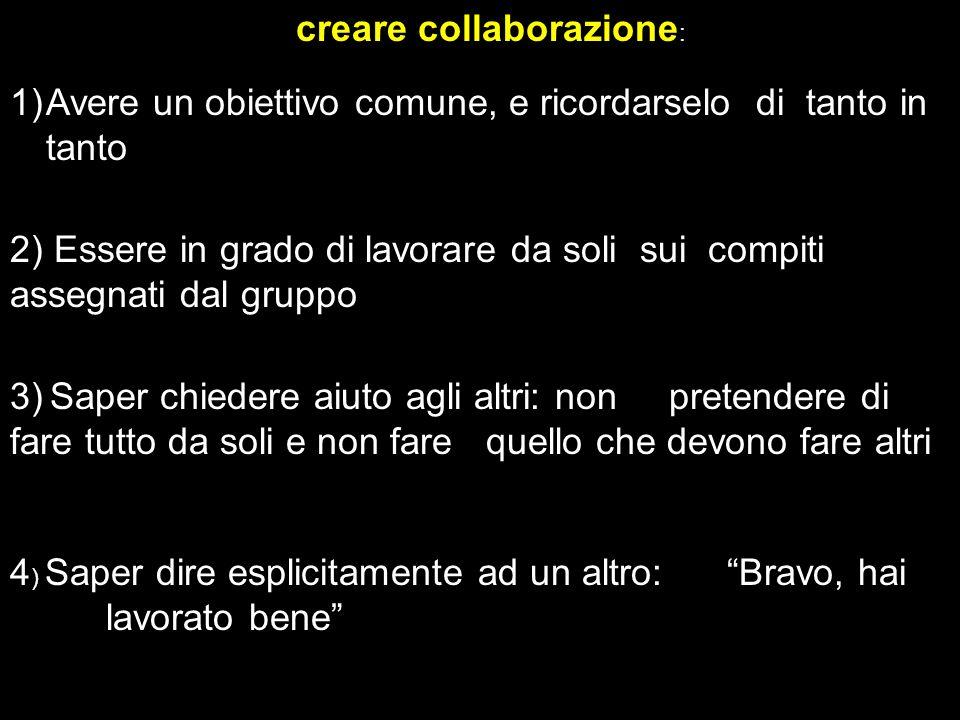 creare collaborazione : 1)Avere un obiettivo comune, e ricordarselo di tanto in tanto 2) Essere in grado di lavorare da soli sui compiti assegnati dal