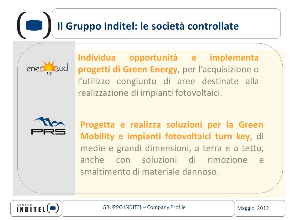 Maggio 2012 GRUPPO INDITEL – Company Profile Il Gruppo Inditel: le società controllate Individua opportunità e implementa progetti di Green Energy, pe