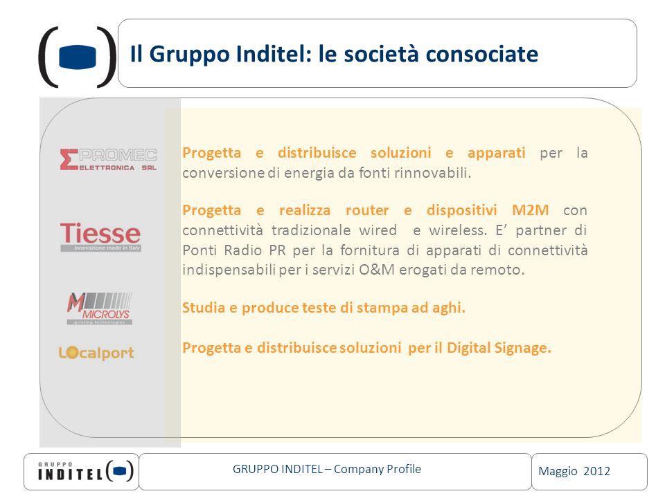 Maggio 2012 GRUPPO INDITEL – Company Profile Il Gruppo Inditel: le società consociate Progetta e distribuisce soluzioni e apparati per la conversione