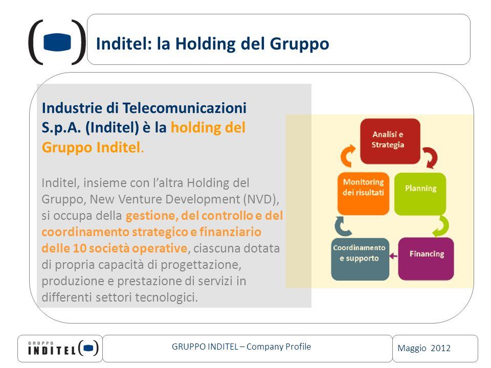 Maggio 2012 GRUPPO INDITEL – Company Profile Inditel: la Holding del Gruppo Industrie di Telecomunicazioni S.p.A. (Inditel) è la holding del Gruppo In