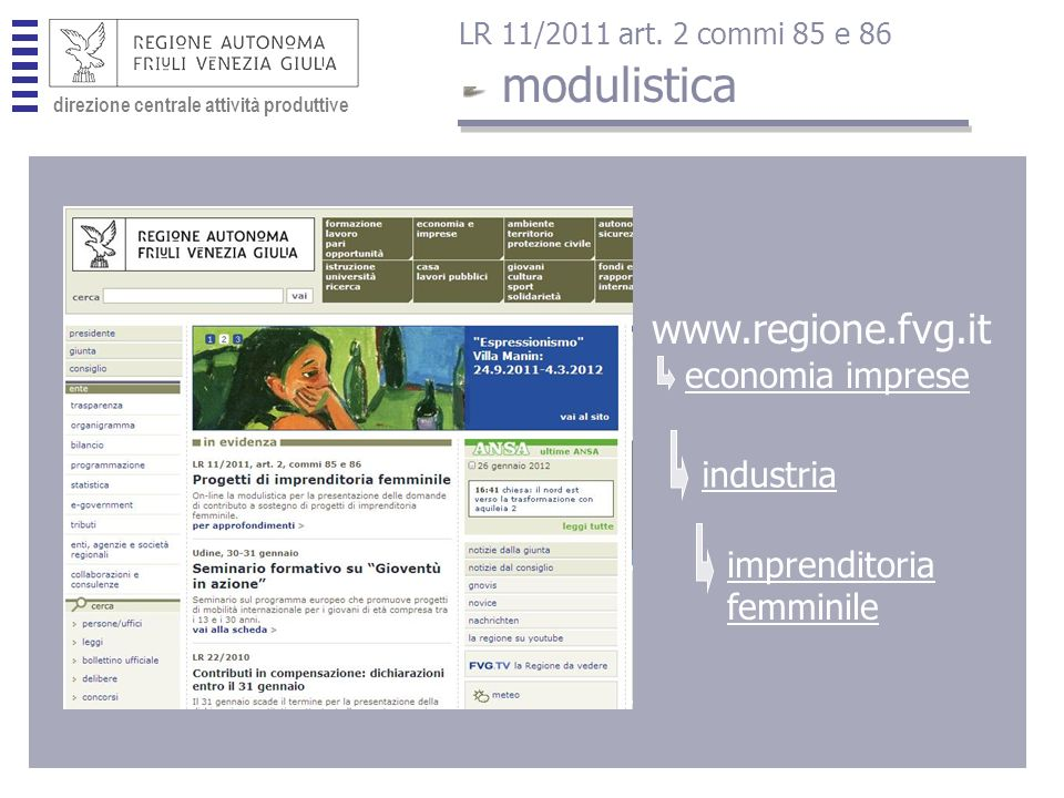 direzione centrale attività produttive www.regione.fvg.it economia imprese industria imprenditoria femminile modulistica LR 11/2011 art.