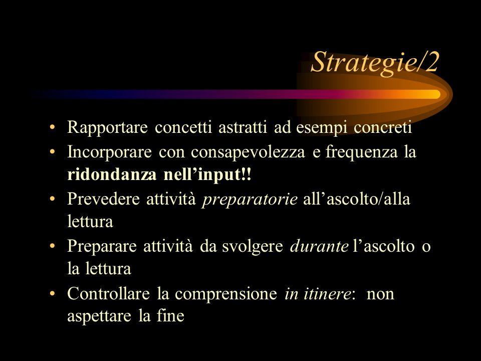 Strategie/2 Rapportare concetti astratti ad esempi concreti Incorporare con consapevolezza e frequenza la ridondanza nellinput!.