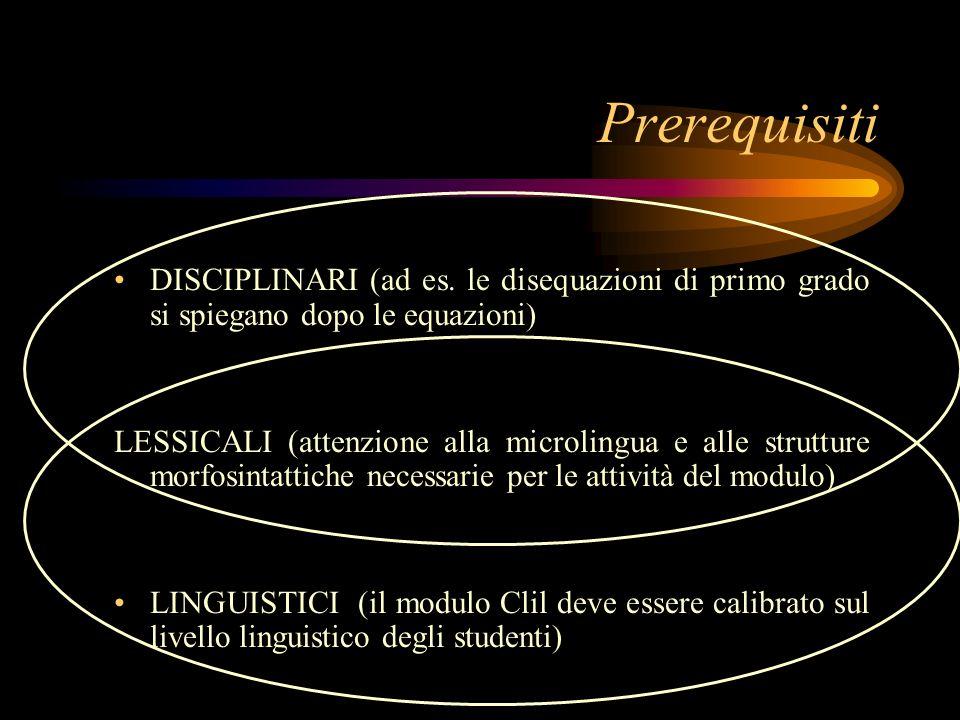 Prerequisiti DISCIPLINARI (ad es.