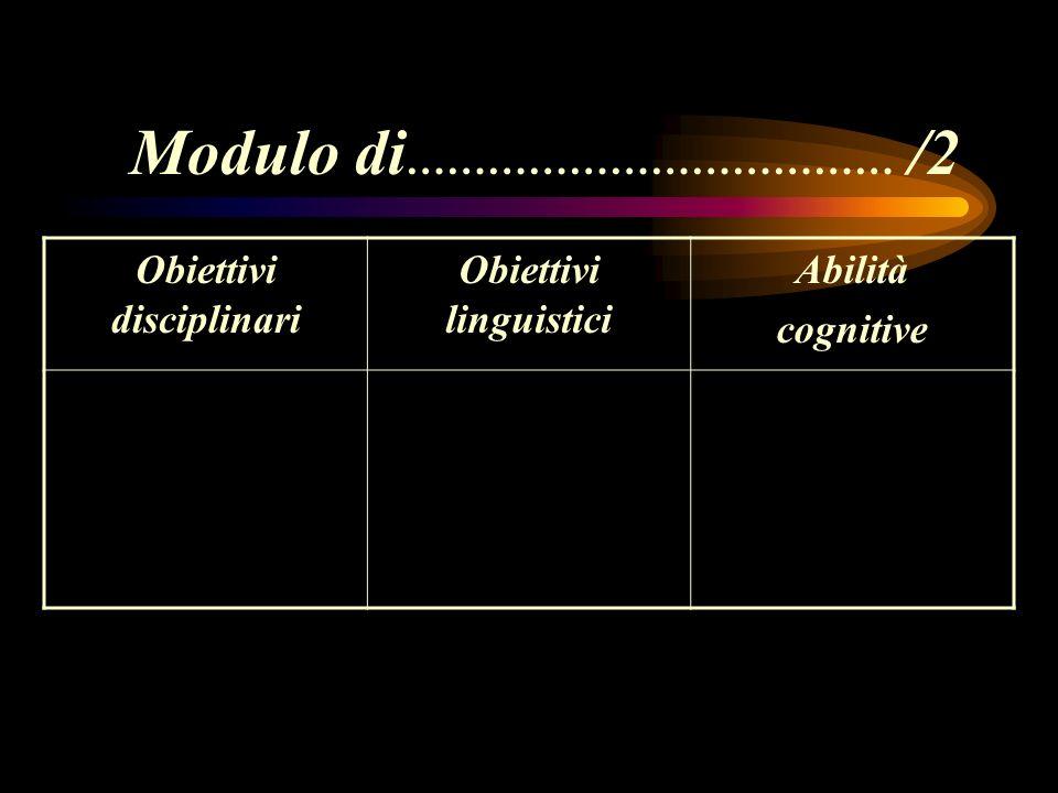Obiettivi disciplinari Obiettivi linguistici Abilità cognitive Modulo di ……………………………… /2