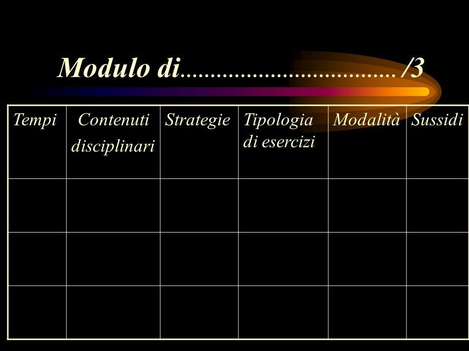 Modulo di ……………………………… /3 TempiContenuti disciplinari StrategieTipologia di esercizi ModalitàSussidi