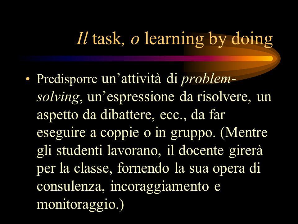 Il task, o learning by doing Predisporre unattività di problem- solving, unespressione da risolvere, un aspetto da dibattere, ecc., da far eseguire a coppie o in gruppo.
