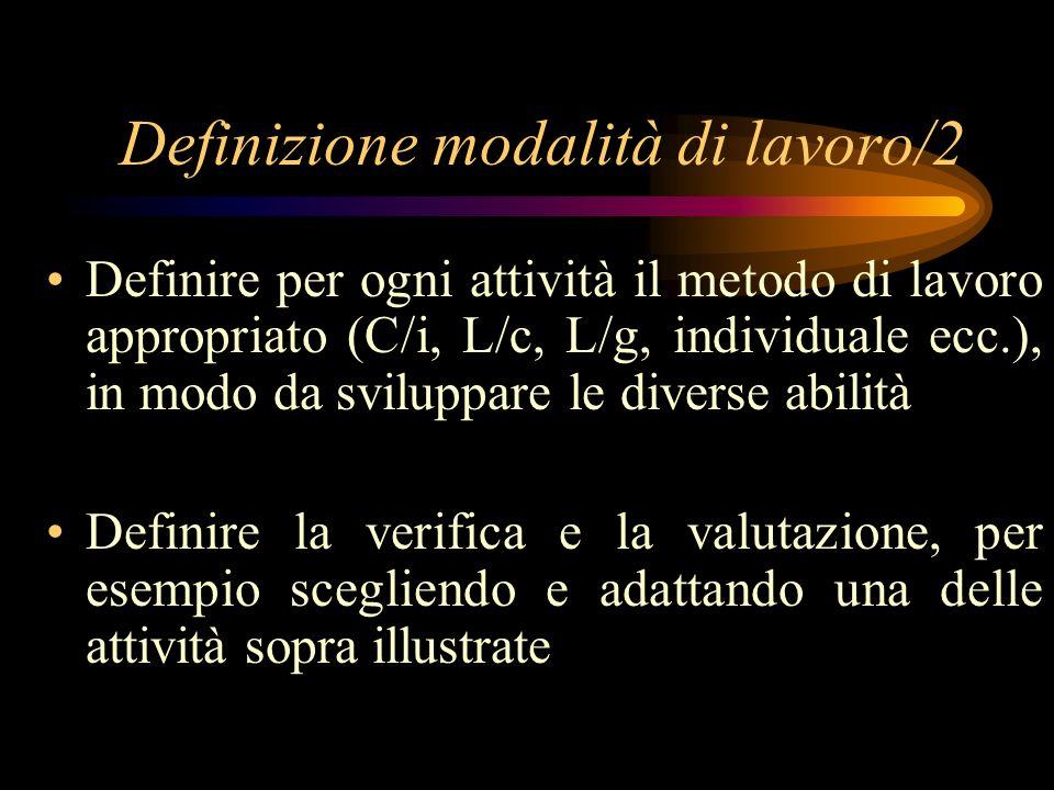 Definizione modalità di lavoro/2 Definire per ogni attività il metodo di lavoro appropriato (C/i, L/c, L/g, individuale ecc.), in modo da sviluppare le diverse abilità Definire la verifica e la valutazione, per esempio scegliendo e adattando una delle attività sopra illustrate