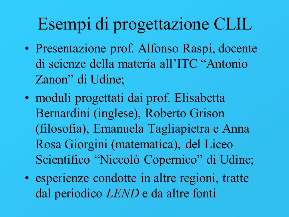 Esempi di progettazione CLIL Presentazione prof. Alfonso Raspi, docente di scienze della materia allITC Antonio Zanon di Udine; moduli progettati dai