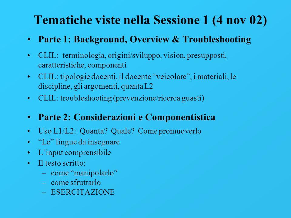 Tematiche viste nella Sessione 1 (4 nov 02) Parte 1: Background, Overview & Troubleshooting CLIL: terminologia, origini/sviluppo, vision, presupposti,