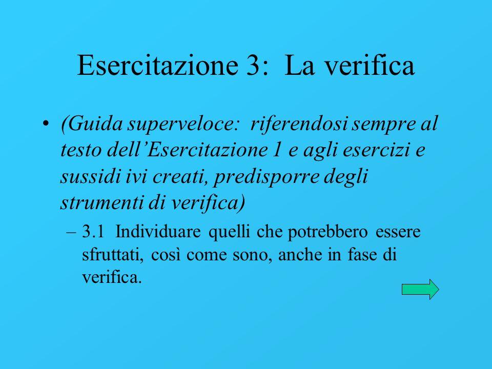 Esercitazione 3: La verifica (Guida superveloce: riferendosi sempre al testo dellEsercitazione 1 e agli esercizi e sussidi ivi creati, predisporre deg