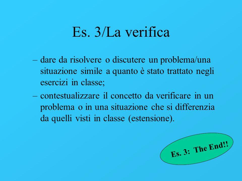 Es. 3/La verifica –dare da risolvere o discutere un problema/una situazione simile a quanto è stato trattato negli esercizi in classe; –contestualizza