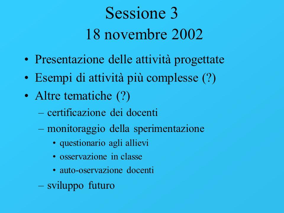 Sessione 3 18 novembre 2002 Presentazione delle attività progettate Esempi di attività più complesse (?) Altre tematiche (?) –certificazione dei docen