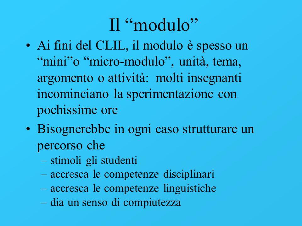 Il modulo Ai fini del CLIL, il modulo è spesso un minio micro-modulo, unità, tema, argomento o attività: molti insegnanti incominciano la sperimentazi