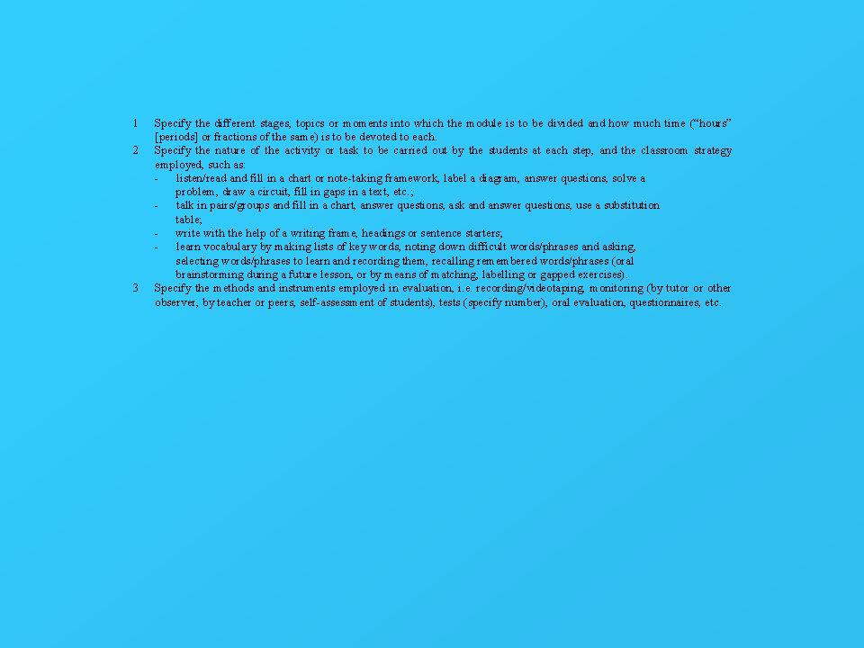 Analisi/sintesi del testo 1.4 Predisporre degli spazi per titoletti o richiami laterali che identificano i concetti base di ogni paragrafo: fornire separatamente i dati necessari e farli abbinare agli studenti; oppure lasciarli in bianco e farli riempire direttamente dagli studenti
