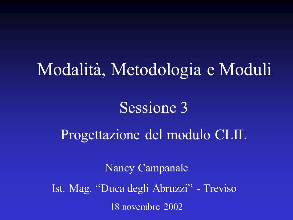 Sessione 3 Progettazione del modulo CLIL Nancy Campanale Ist. Mag. Duca degli Abruzzi - Treviso 18 novembre 2002 Modalità, Metodologia e Moduli