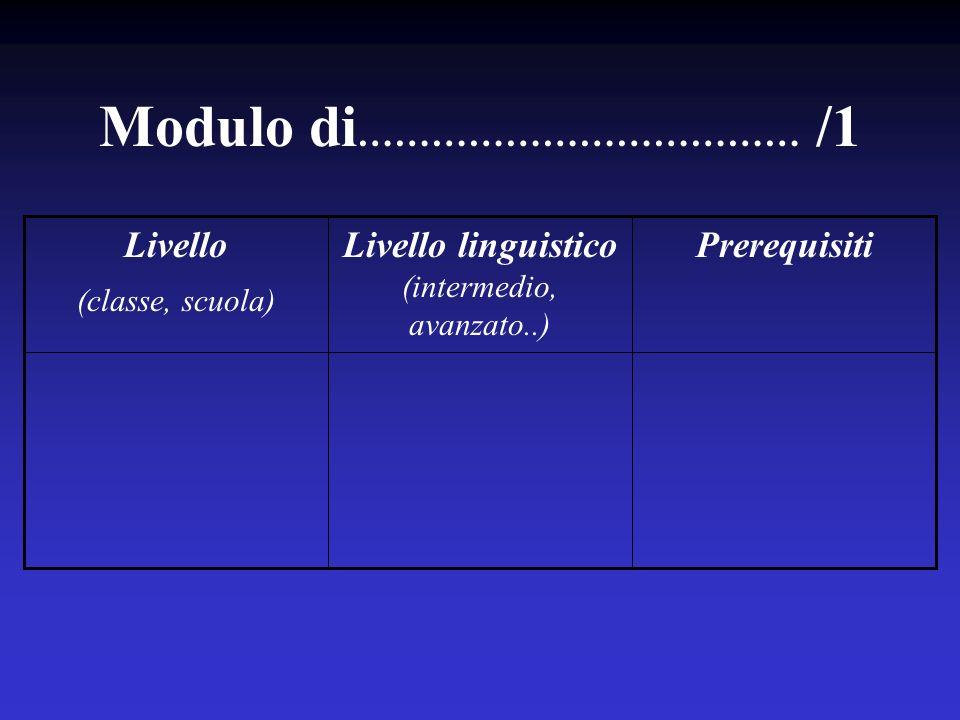 Modulo di ……………………………… /1 PrerequisitiLivello linguistico (intermedio, avanzato..) Livello (classe, scuola)