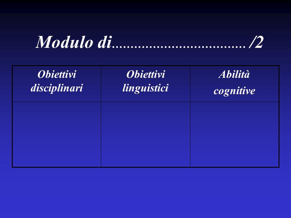 Abilità cognitive Obiettivi linguistici Obiettivi disciplinari Modulo di ……………………………… /2
