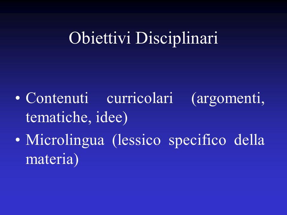 Obiettivi Disciplinari Contenuti curricolari (argomenti, tematiche, idee) Microlingua (lessico specifico della materia)