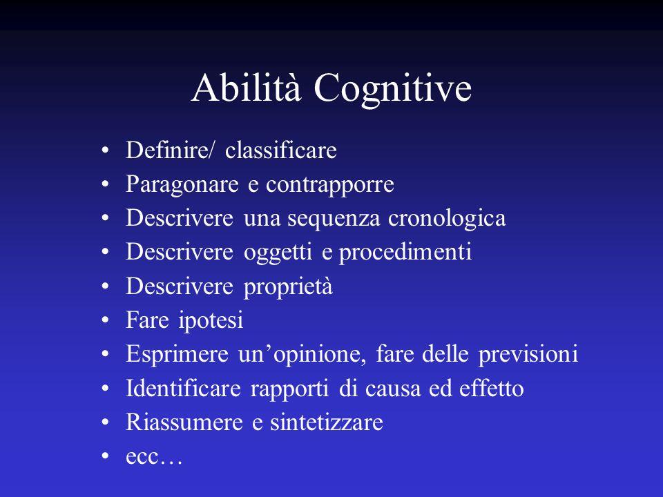 Abilità Cognitive Definire/ classificare Paragonare e contrapporre Descrivere una sequenza cronologica Descrivere oggetti e procedimenti Descrivere pr