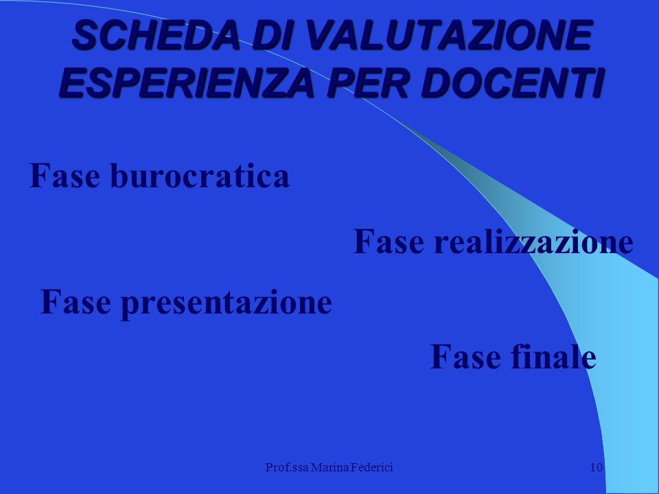 Prof.ssa Marina Federici10 SCHEDA DI VALUTAZIONE ESPERIENZA PER DOCENTI Fase burocratica Fase presentazione Fase realizzazione Fase finale