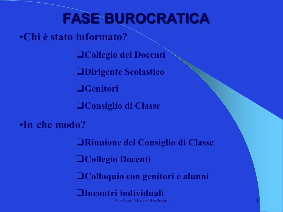 Prof.ssa Marina Federici11 FASE BUROCRATICA Chi è stato informato? Collegio dei Docenti Dirigente Scolastico Genitori Consiglio di Classe In che modo?