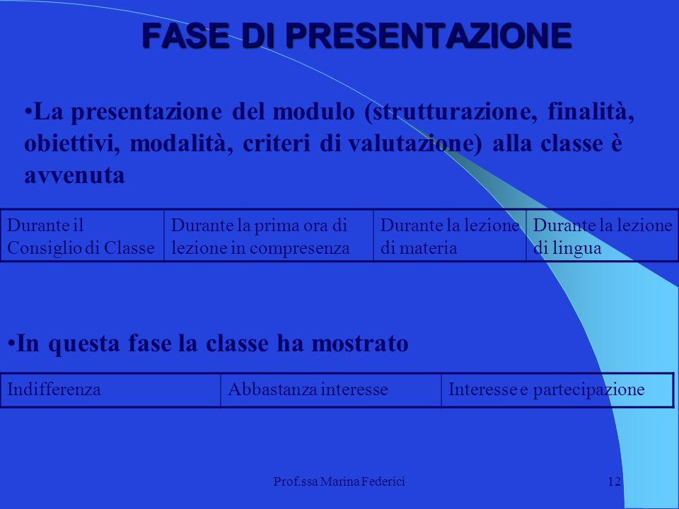 Prof.ssa Marina Federici12 FASE DI PRESENTAZIONE La presentazione del modulo (strutturazione, finalità, obiettivi, modalità, criteri di valutazione) a