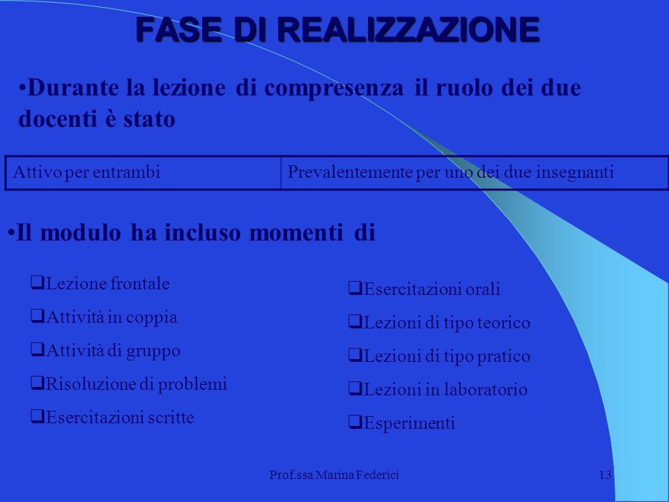 Prof.ssa Marina Federici13 FASE DI REALIZZAZIONE Durante la lezione di compresenza il ruolo dei due docenti è stato Attivo per entrambiPrevalentemente