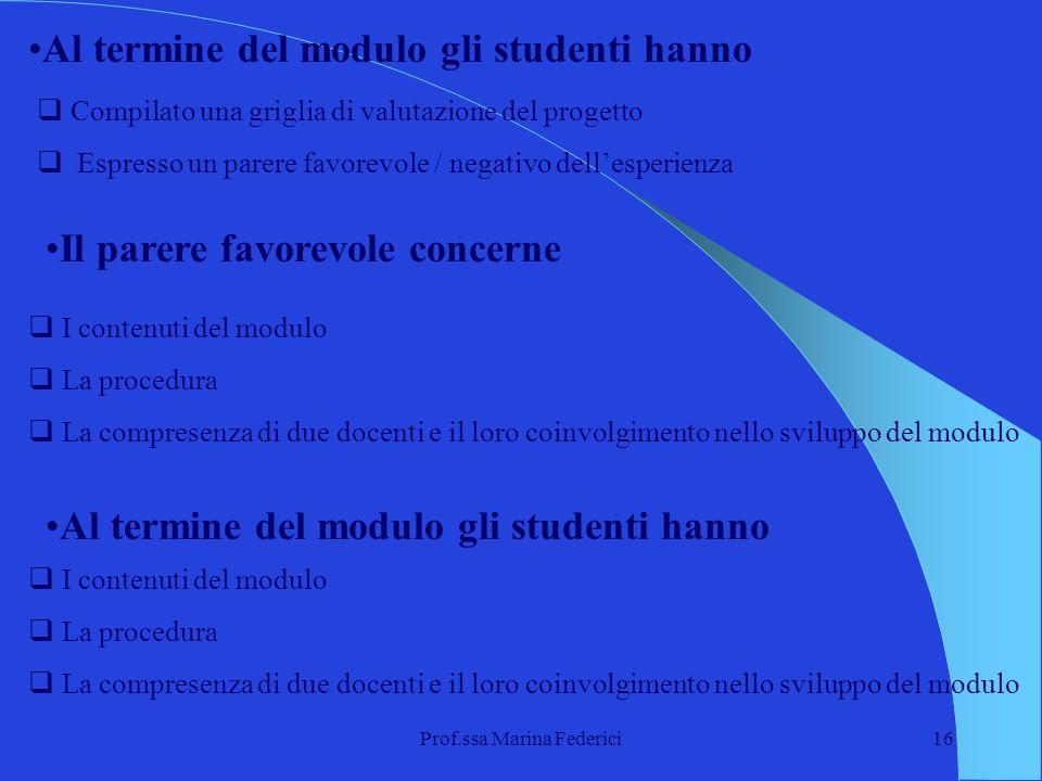 Prof.ssa Marina Federici16 Al termine del modulo gli studenti hanno Compilato una griglia di valutazione del progetto Espresso un parere favorevole /