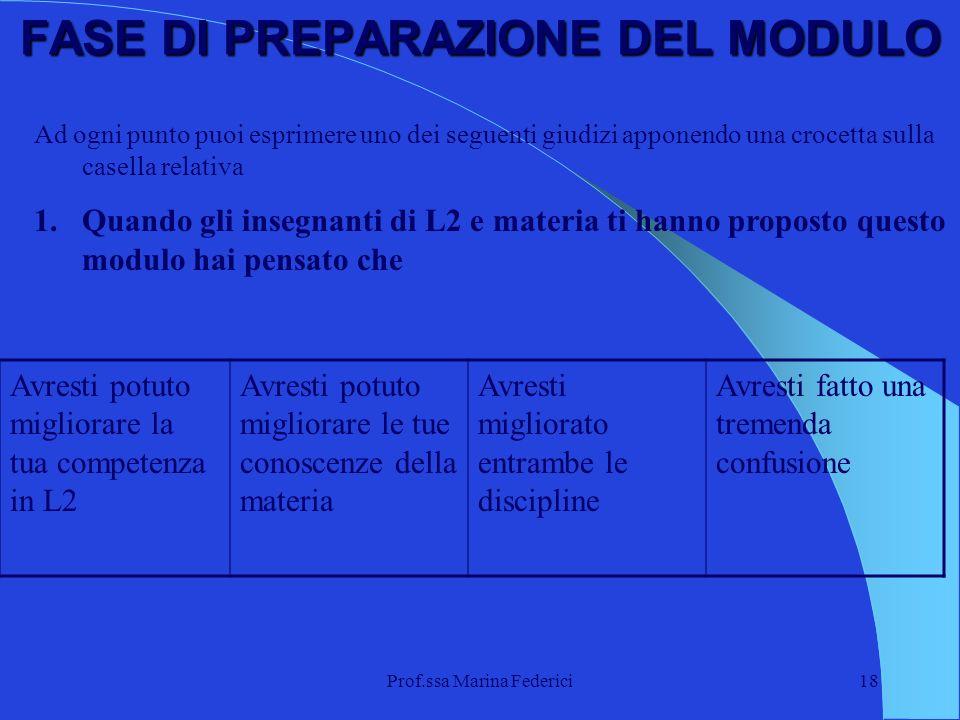 Prof.ssa Marina Federici18 FASE DI PREPARAZIONE DEL MODULO Ad ogni punto puoi esprimere uno dei seguenti giudizi apponendo una crocetta sulla casella