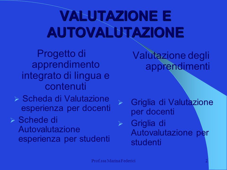 Prof.ssa Marina Federici2 VALUTAZIONE E AUTOVALUTAZIONE Progetto di apprendimento integrato di lingua e contenuti Scheda di Valutazione esperienza per