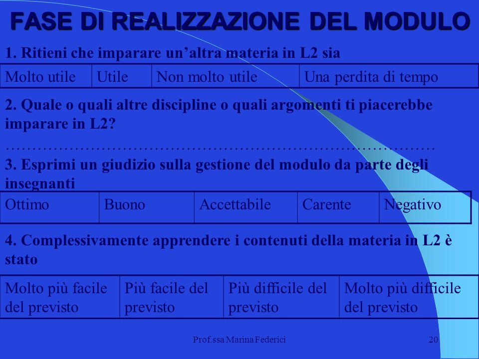 Prof.ssa Marina Federici20 FASE DI REALIZZAZIONE DEL MODULO 1. Ritieni che imparare unaltra materia in L2 sia Molto utileUtileNon molto utileUna perdi