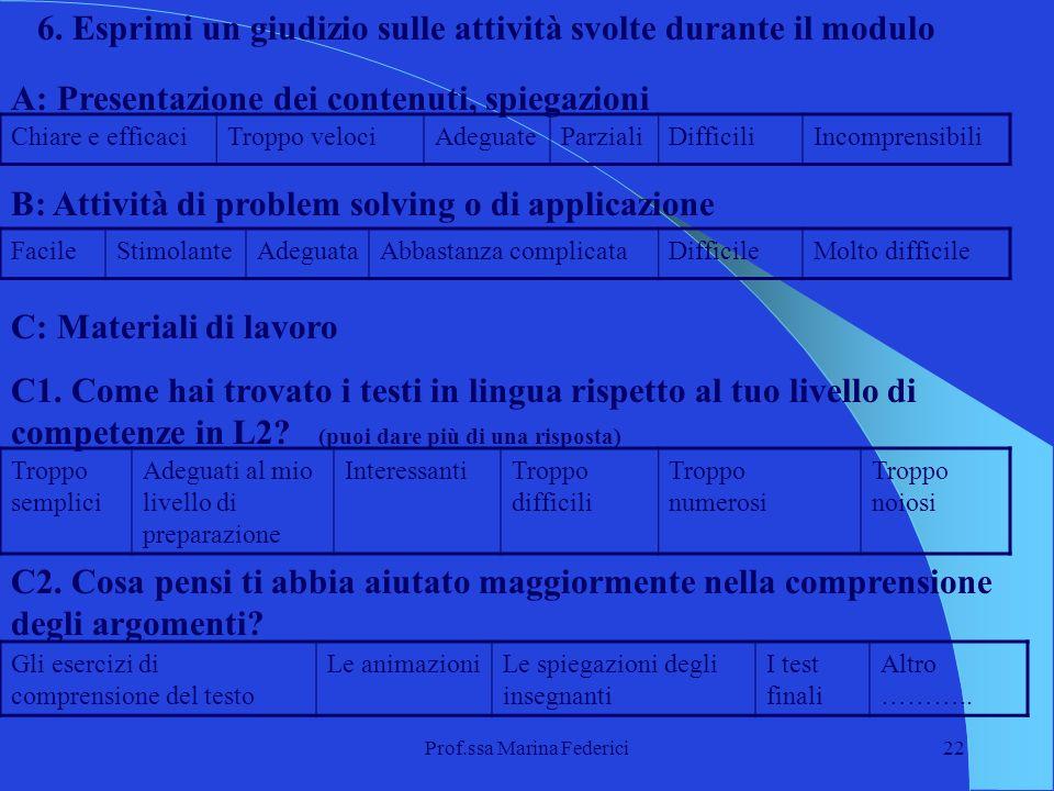 Prof.ssa Marina Federici22 6. Esprimi un giudizio sulle attività svolte durante il modulo A: Presentazione dei contenuti, spiegazioni Chiare e efficac