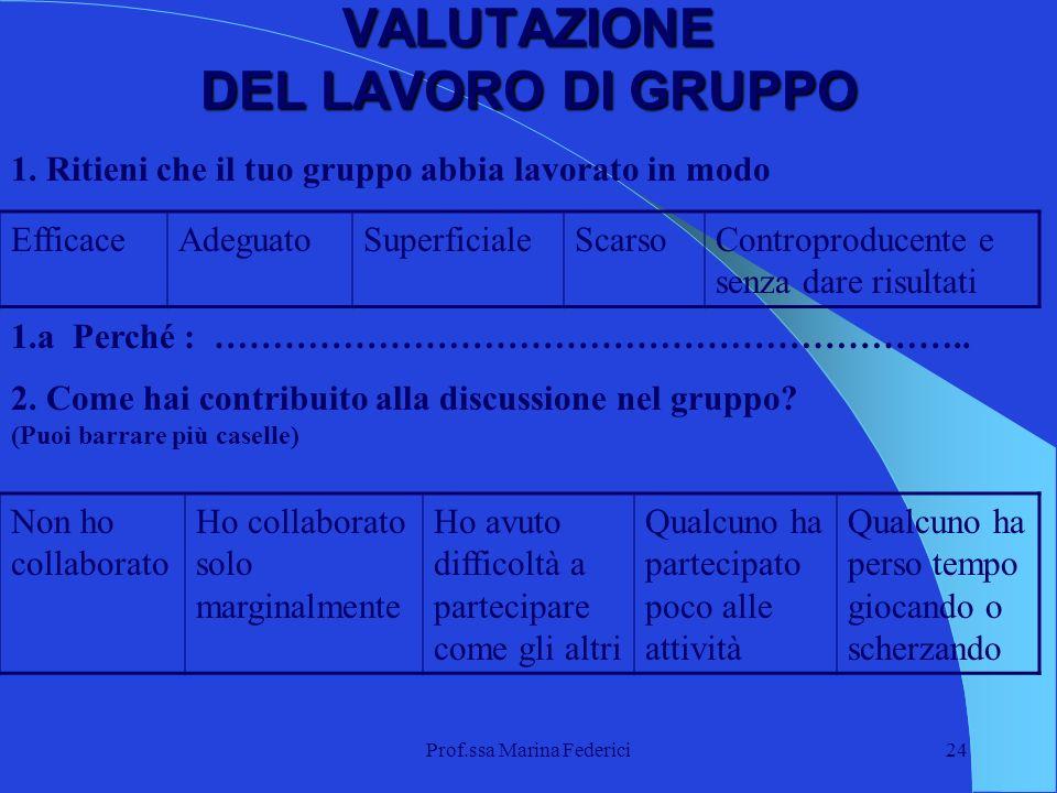Prof.ssa Marina Federici24 VALUTAZIONE DEL LAVORO DI GRUPPO 1. Ritieni che il tuo gruppo abbia lavorato in modo EfficaceAdeguatoSuperficialeScarsoCont